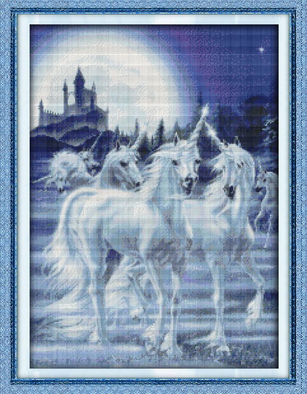 Hand Made Needlework Kits 11CT&14CT Cross-Stitch DIY Innovation Items Embroidery Kit Counted Cross Stitch Unicorn Home Decor(China (Mainland))