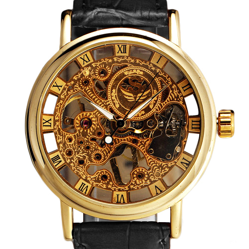 BEST SALE Mens Gorgeous Ultra-thin Golden Hollow Carve Dial Luxury Mechanical Clock Watch 5V87<br><br>Aliexpress
