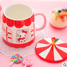 Kawaii Circus Ceramic Lovers Coffee Cup Milk Water Mug with Cup Cover TRD