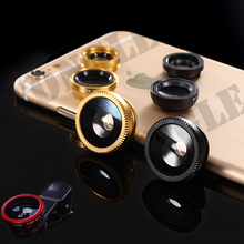 New Universal 3 in1 Clip Fish Eye Lens Wide Angle Macro Mobile Phone Lens For iPhone