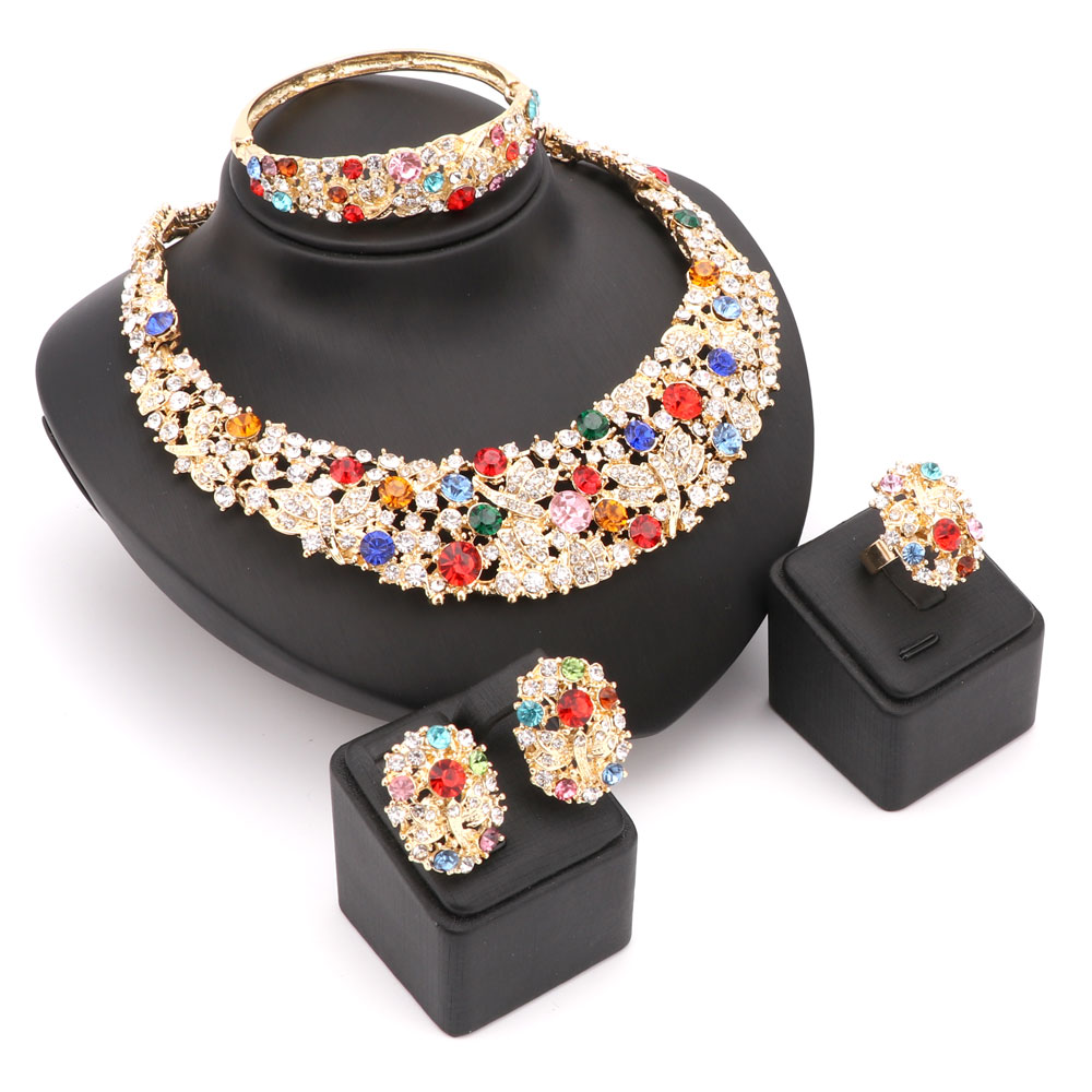 New Trendy Gold Plated Wedding/Engagement Jewelry Sets Online,Fashion Indian Jewelry Queen Bijoux Joyeria Colar Charms(China (Mainland))