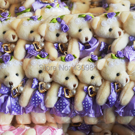 promotion 12 pcs/lot flowers packing material soft animal toys for bouquet wedding decoration 13cm jointed bears lilac(China (Mainland))