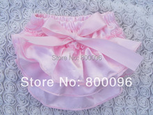 Wholesale Pink Bow solid color Cute Baby Girl Bloomers Baby Diaper Cover Shorts satin fabric KP-SB043(China (Mainland))