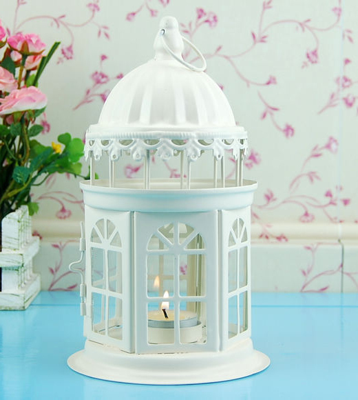 Fashion home decoration wrought iron glass lantern candle holder princess  bird cages for weddings Home products wholesale