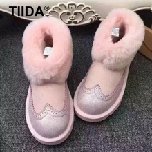 TIIDA New Top quality Women snow boots Natural Fur Warm Winter Boots Women's Fashion Ankle Boots Women Boots 100% Wool Inside(China (Mainland))