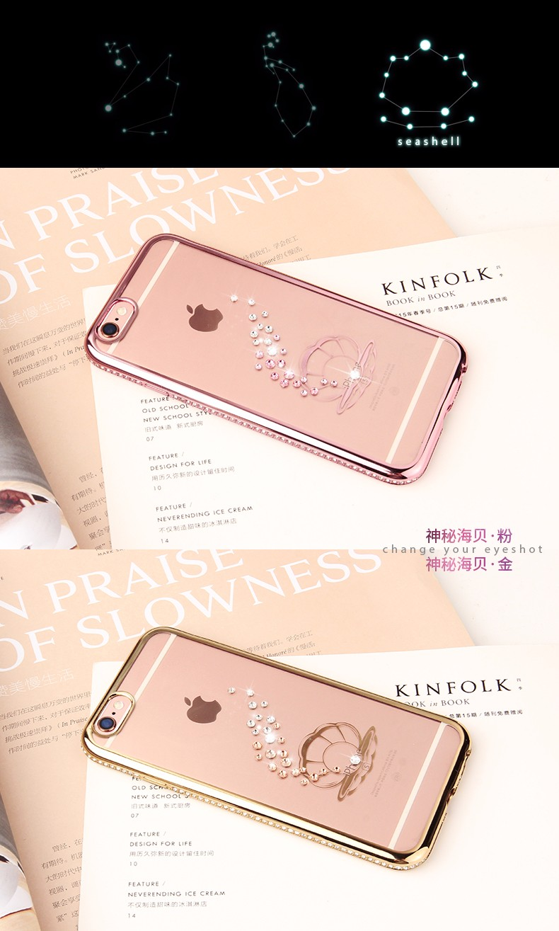 Case for apple iphone 5 5S 6 6s plus SE Cases Luxury Rhinestone Plating TPU Soft shell fashion I5 by 2016 new phone Accessories