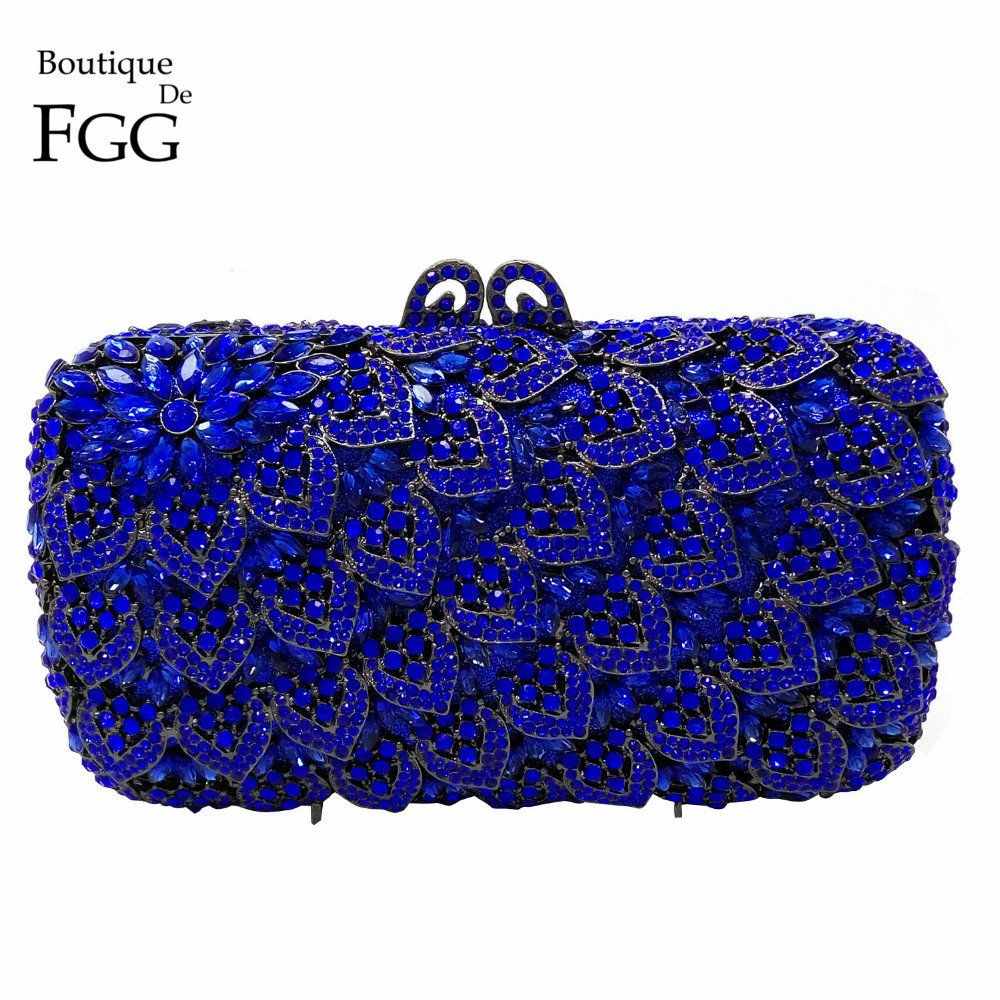 Women's Dark Blue Crystal Diamond Evening Clutch Cocktail Handbags Purses Hollow Out Ladies Wedding Metal Clutches Shoulder Bags(China (Mainland))