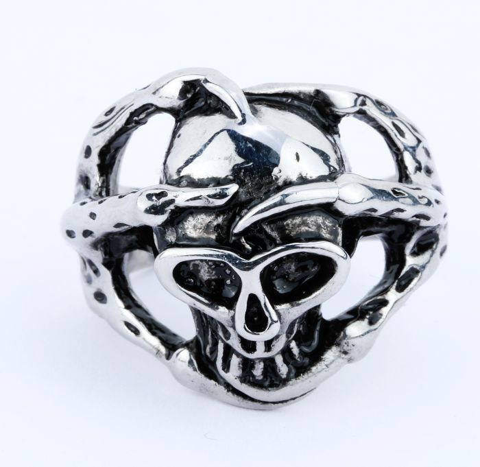 FREE SHIPPING High Quality New Cool Skull Bling Men's Rings Fashion Stainless Steel Jewelry Size 8-12 GCY(China (Mainland))