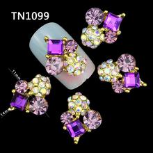 10 Pcs 3D Nail Art Decorations Gold Alloy Diy Glitter Geometric Charm Purple AB Rhinestone Tools Used On Nails Polish Gel UV(China (Mainland))