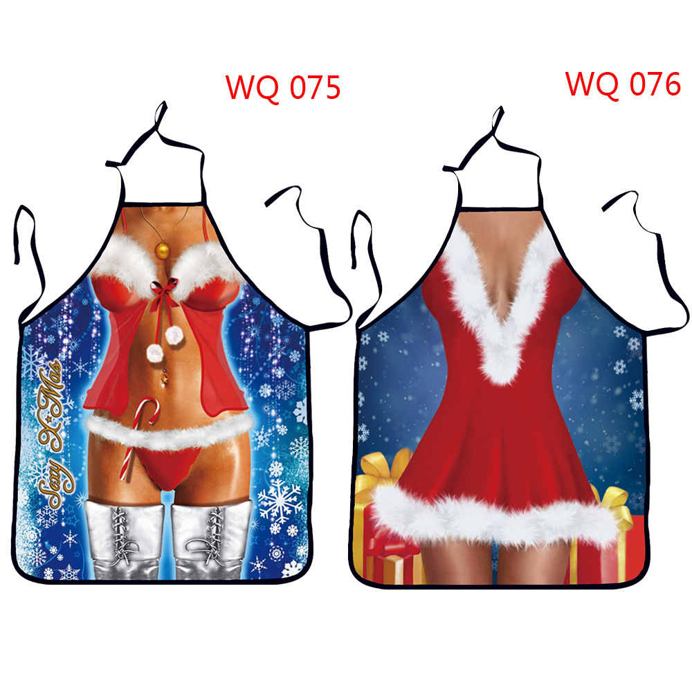 2016 Funny Printed Personality Aprons Christmas Santa Anime Cartoon Sex Lady Cooking Apron Creative Character Series(China (Mainland))