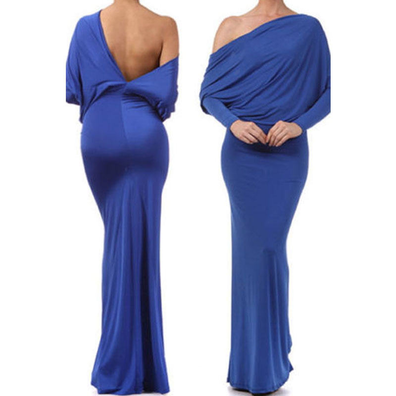 2016 Summer Solid Color Cheap Maxi Dress Long Sleeve One Shoulder Backless Convertible Multiway Jersey Bodycon Over Hip Dresses(China (Mainland))