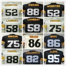 Lower Price Mike Webster Jack Lambert Lynn Swann GREG LLOYD Hines Ward Joe Greene Men's Throwback Jersey Size 48-56(China (Mainland))