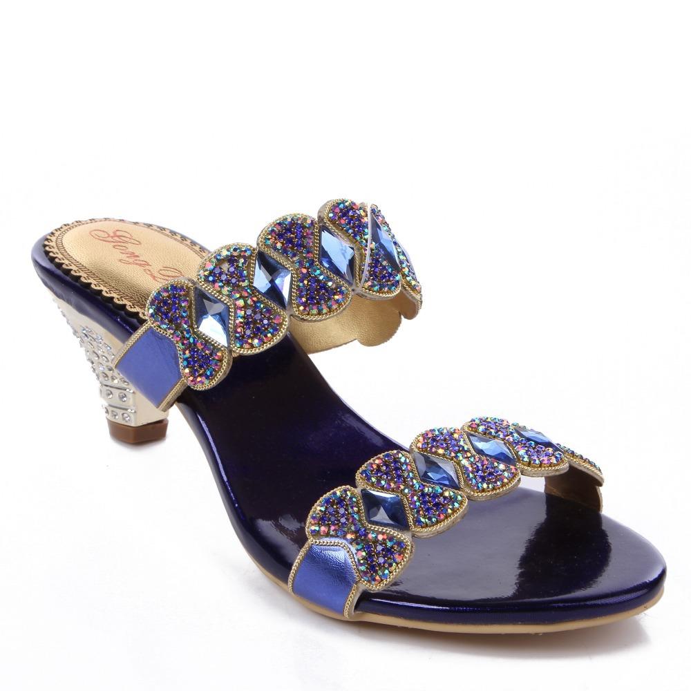 Fashion Women Rhinestone Sandals 2015 Big size 33-44 Chunky Heels Flip Flops Open Toe Platform Shinning Bohemia Summer Shoes