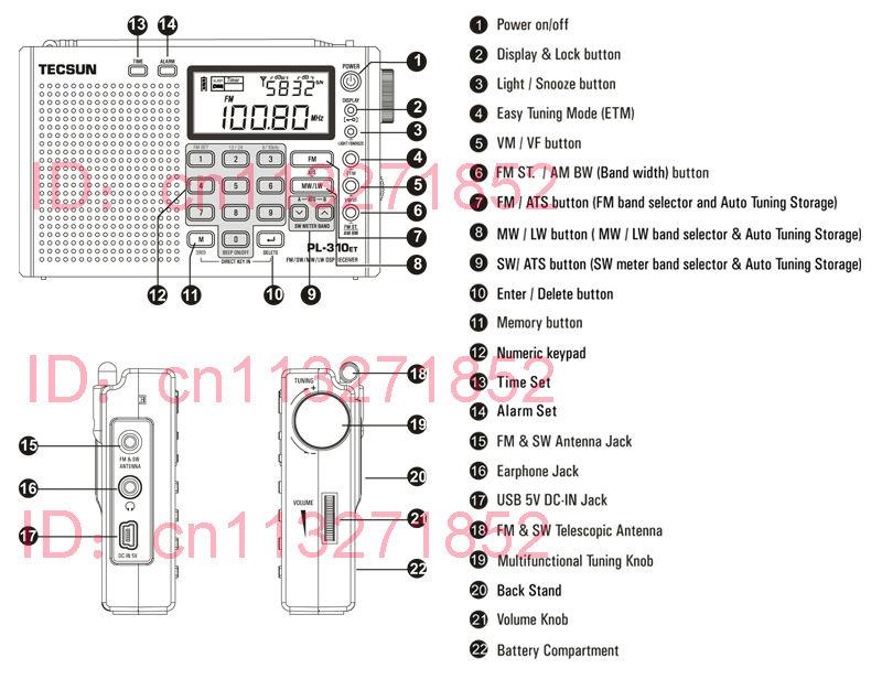 Tecsun PL310ET Full Band Radio Digital Demodulator FM AM Stereo Radio TECSUN PL 310