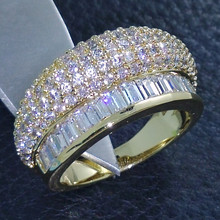 Victoria Wieck Vintage Jewellery Topaz simulated diamond 10KT yellow Gold Filled Wedding Band Ring Sz 6/7/8 Free shipping(China (Mainland))