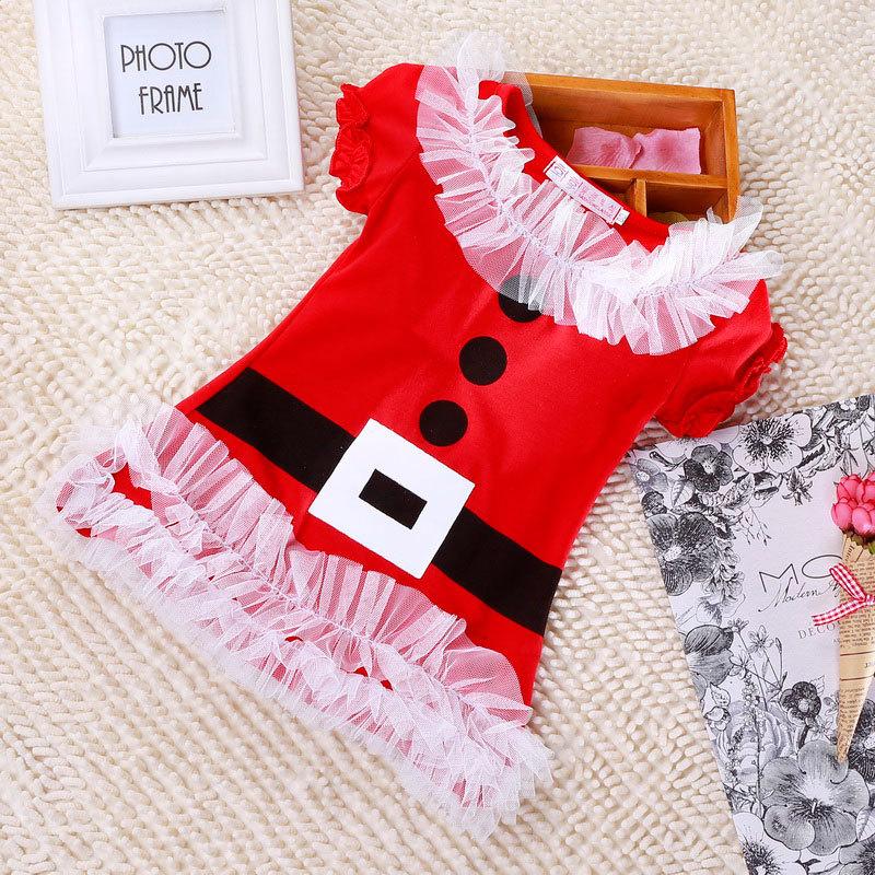 New red christmas dress for girls sleeveless merry
