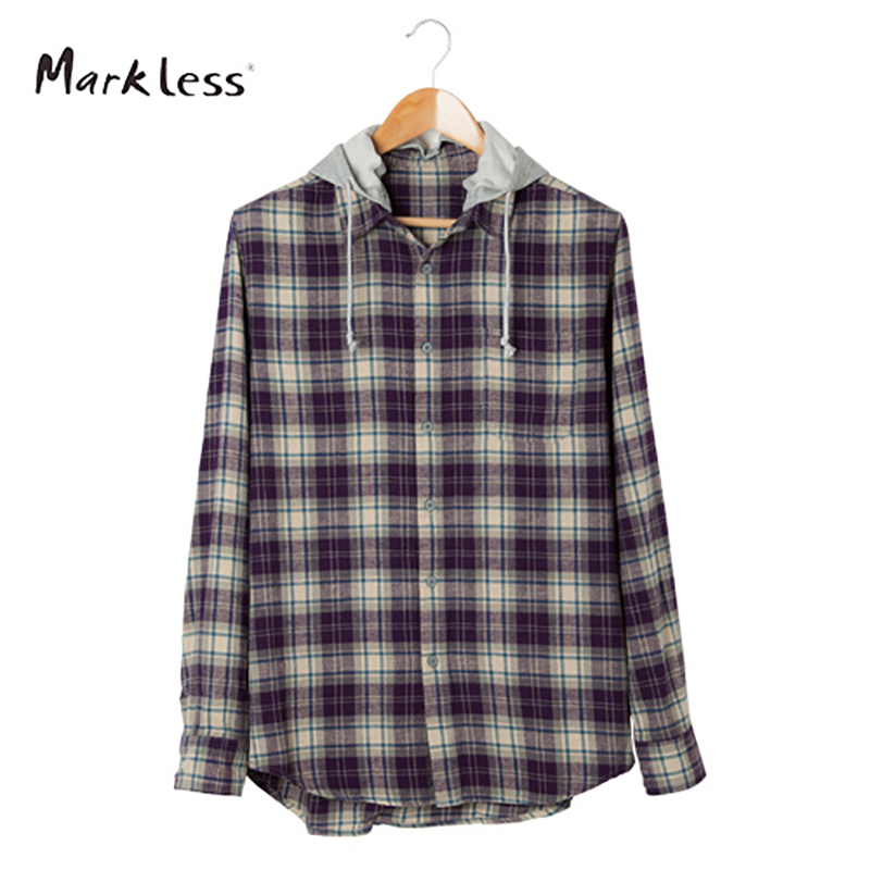 Markless Casual Cotton Men's Shirts Long-sleeve With Hooded Can Be Remove Lattice Pattern Men Shirt(China (Mainland))