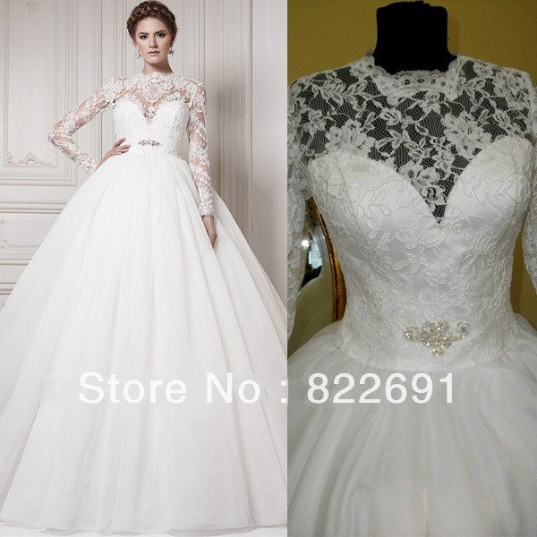 Elegant See Through Lace Top Inside Sweetheart Long Sleeves Organza Bottom Ball Gown Wedding