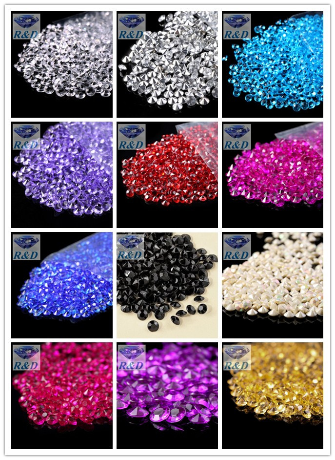1000 pcs / lot 6mm 1Carat Wedding Decoration Acrylic Scatter Table Crystals Diamonds Acrylic Diamond Crystal Confetti(China (Mainland))