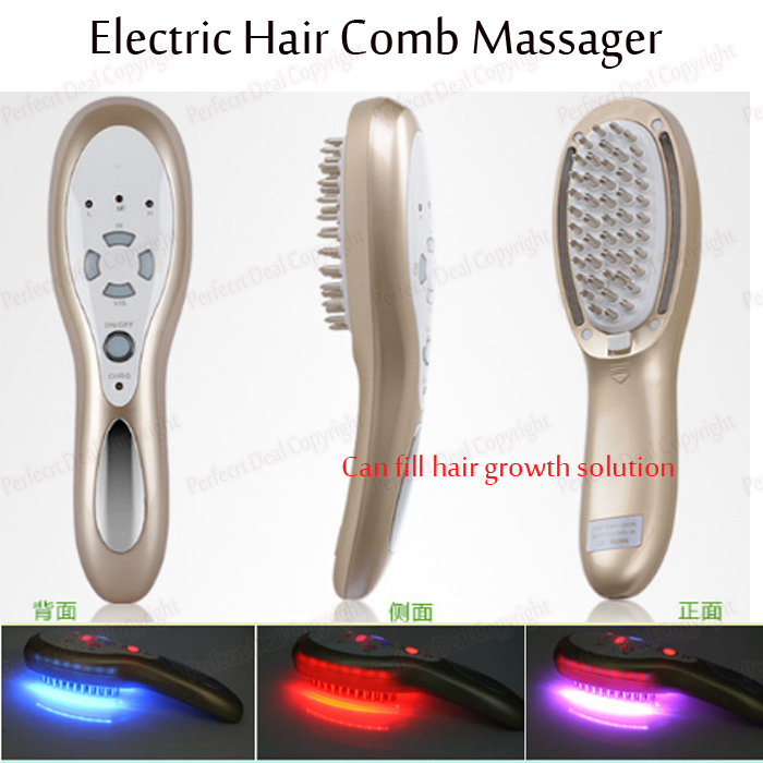 Hair Regrowth Product Can Add Hair Herbel Liquid Solution Electric Led Bio Light Vibration Ion Photon Therapy Hair Massager Comb(China (Mainland))