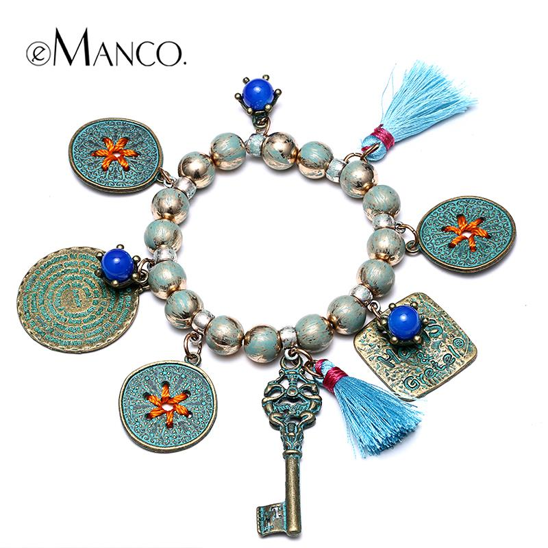 //Tassel bracelet beads geometric charm bracelet elastic// alloy jewelry bracelets for girls 2015 new arrival eManco BL06924(China (Mainland))