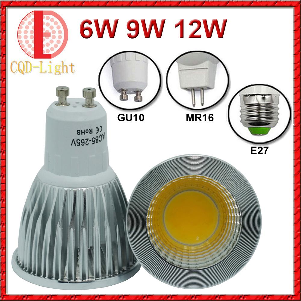 Super Bright Bulbs Light Dimmable Led Warm/White 85-265V 6W 9W 12W GU10 COB LED lamp light led Spotlight DC 12V(China (Mainland))