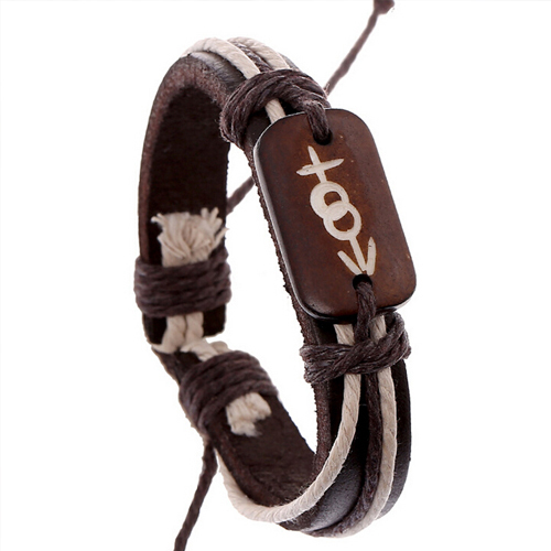 pulseiras Vintage 2016 Ethnic Style Genuine Leather Bracelet Gender Sex Symbol Cattle Bone Wrap Bracelet Manchette Bijoux Couple(China (Mainland))
