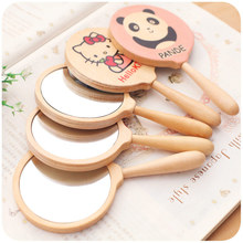 Silently love  creative cartoon pattern retro wood wooden hand mirror carry a small mirror mirror grooming(China (Mainland))