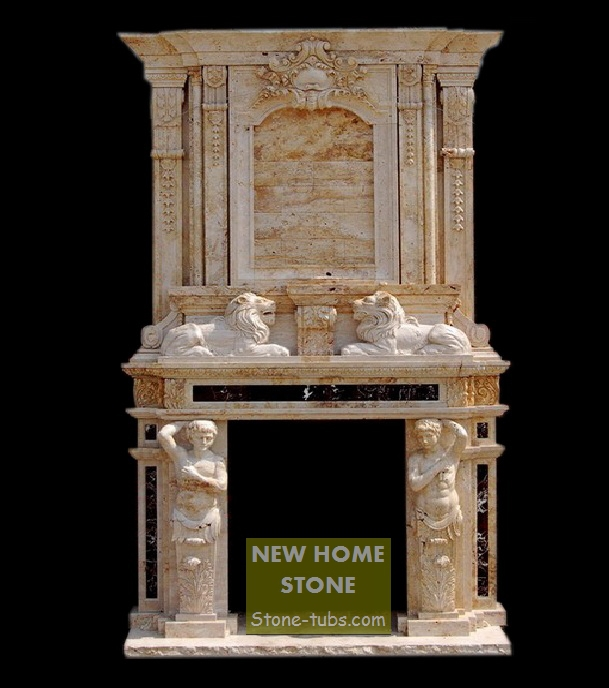 antique marble fireplace mantels with lion sculpture and man statues