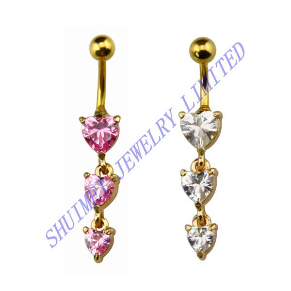 100Pcs Triple Heart CZ Zircon Gem Dangle Stainless Steel Navel Barbell Belly Button Ring Piercing