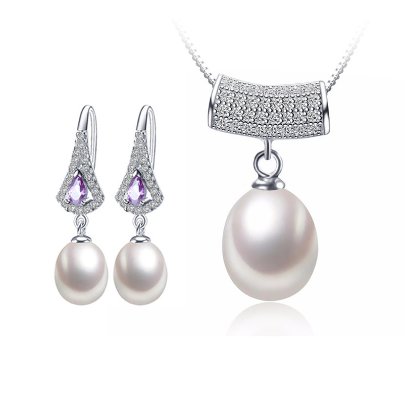 Top Quality Women Pearl Jewelry Sets Water Pendant Necklaces Earrings Big Size Natural Pearl 925 Sterling Silver Wedding Jewelry(China (Mainland))