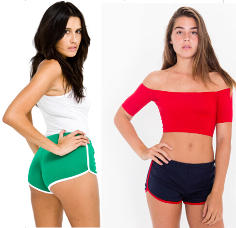 American Apparel AA vintage body shaping candy color block decoration 100% cotton sports casual shorts - Dudu Baby Fashion Store store