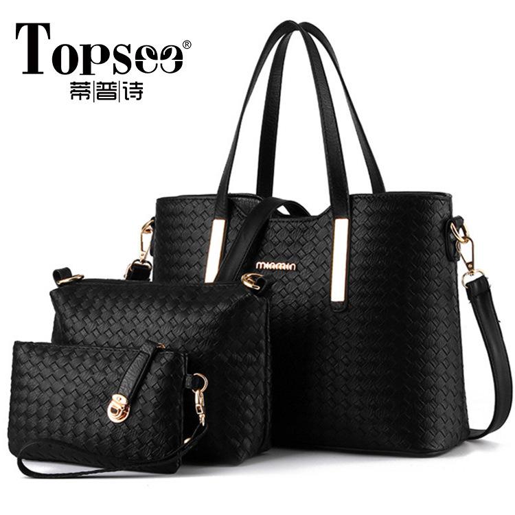 2016 Newest Women Office Bag Girl Messenger Bag 3Bags Per Set Bolsa Feminina Lady Handbag Casual Royal 4 Color Women Bag Tote