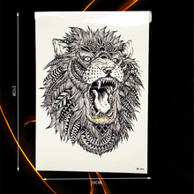 Large Animal Arm Tattoo Indian King Lion Head Design Waterproof Temporary Tattoo Stickers Men Body Back