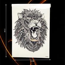 Large Animal Arm Tattoo Indian King Lion Head Design Waterproof Temporary Tattoo Stickers Men Body Back Art Tatoo Sleeve HHB-496