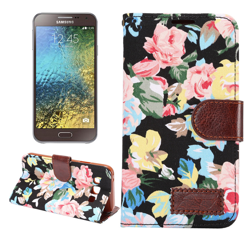 Flower Print Fabric + PU leather Case For Samsung GALAXY E5 Wallet Card Holder stand Flip Phone Bags cover(China (Mainland))
