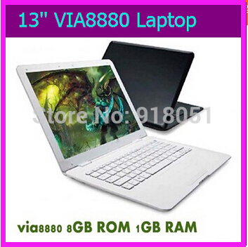 Free shipping Wholesale New Arrival Mini 13.3 inch laptop Computer Netbook with VIA 8880 1GBRAM 8GB Storage, Android 4.2 laptop(China (Mainland))