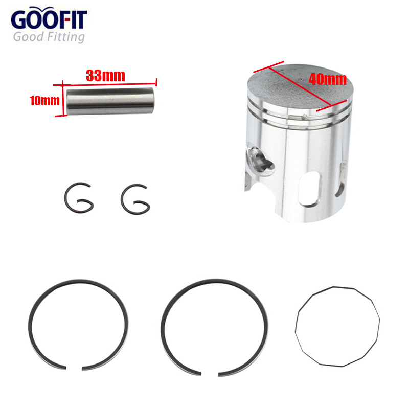 GOOFIT 40mm Piston Ring 10mm Pin Set Kit Assy for JOG 2-stroke 50cc Moped & Scooter motorcycle piston accessory T40 K082-063(China (Mainland))