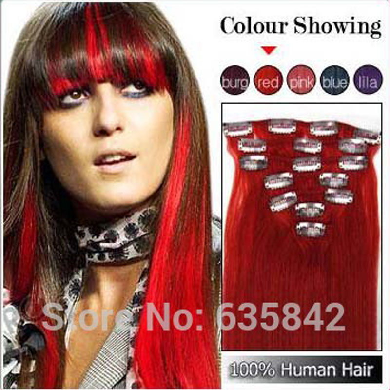 15inch-20inch 7pcs 70g Clip In Natural Hair Extensions Straight Long Red Color Cosplay Hair Extension Top Fashion
