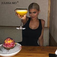 Jugo MO Sexy Bodysuit mujer 2019 sólido de punto de algodón sin mangas de verano de alta cintura ceñido Bodysuits monos(China)
