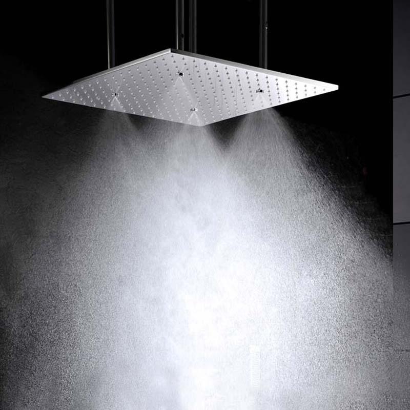 500 500 8mm Led Rain Shower Head Rainfall Dual Head Showers And Ceiling Mist
