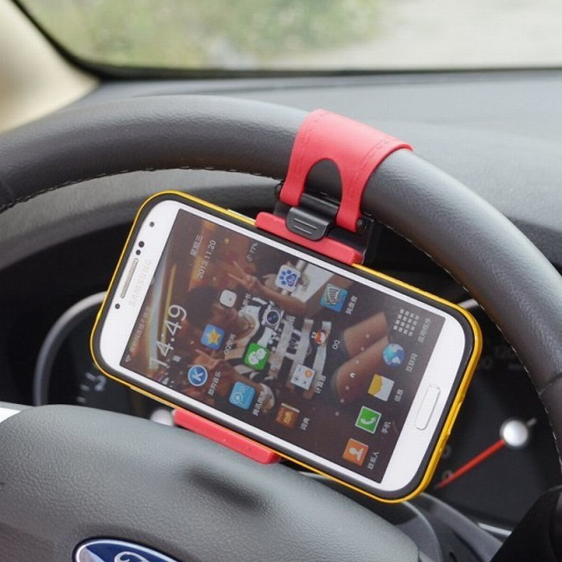 Universal Car Steering Wheel Phone Holder for iphone Flexible Rubber Holder For Samsung GPS Free Hand Stand Car Holder Support(China (Mainland))