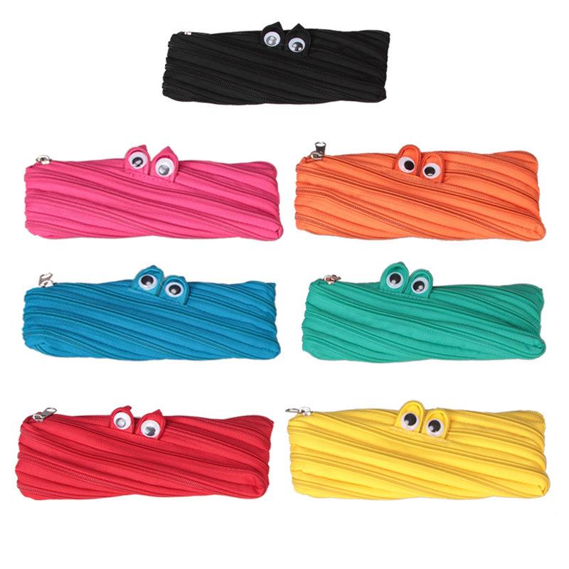 Little Monster Harajuku zipper Girls Boys school pencil bag coin purse creative glasses Multifunctional Storage package(China (Mainland))