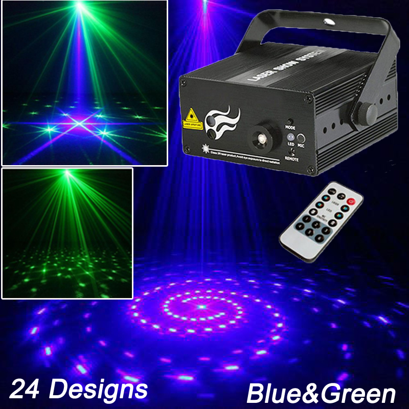 New Night Club Lighting Mini Laser Light 24Designs Blue Green Stage Effect Party Decoration Efectos De Luces De Discoteca Lazer(China (Mainland))