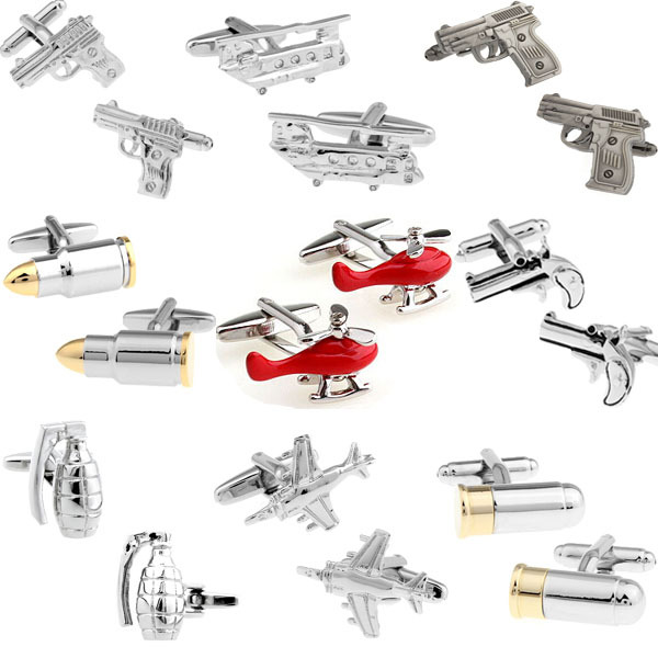 Free shipping Men Cufflinks retail 18K gold plating bullet design rotatable bullet best gift for men cuff links wholesale&retail(China (Mainland))
