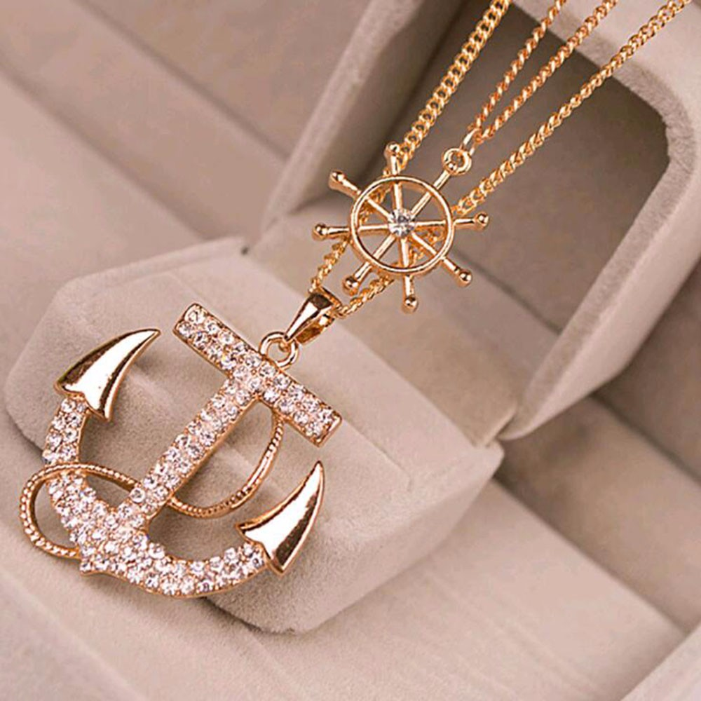 TOMTOSH 1pcs New Fashion 2 Colors White Navy Crystal Rhinestone Anchor Rudder Pendant Long Chain Sweater Necklace(China (Mainland))