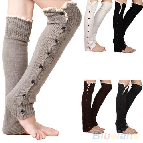 Women s Crochet Knitted Stocking Leg Warmers Button Lace Trim Legging Boot 1SXE