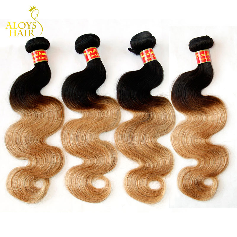Ombre Brazilian Virgin Hair Extensions Body Wave Grade 7A Ombre Human Hair Weave Bundles Black Brown Blonde 1B/4/27#<br><br>Aliexpress