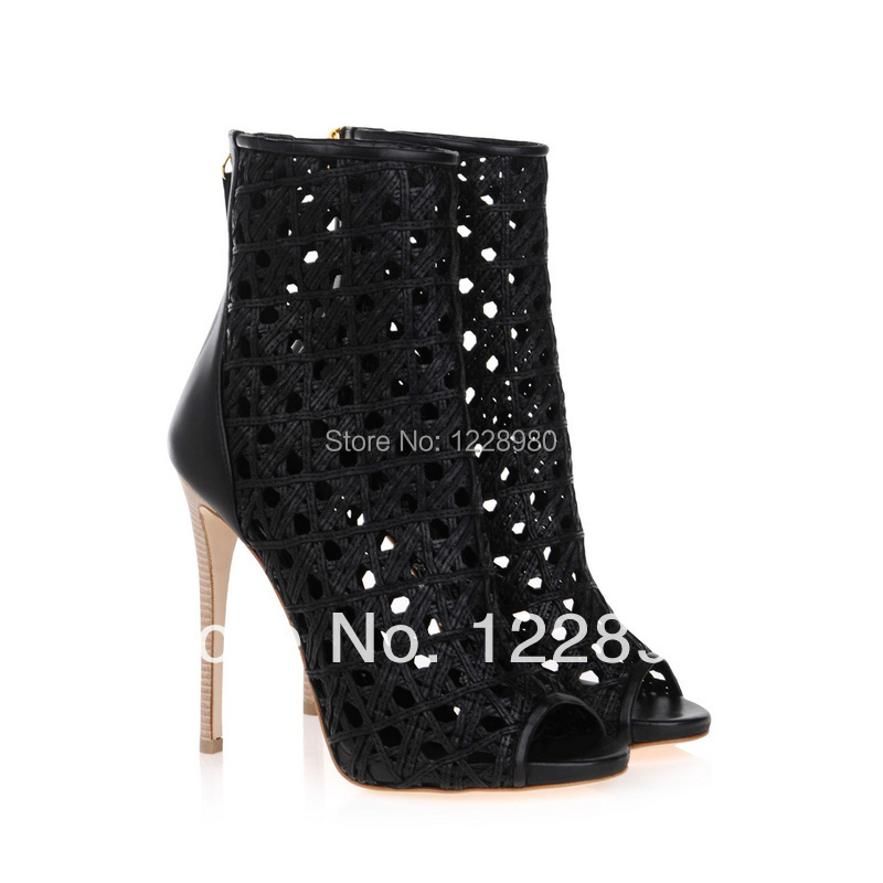 2014 Fashion Peep Toe Leather Women Shoes Summer Caged Bootie Designer Cut Ankle Sandal Boots - Five Stars Boutique store