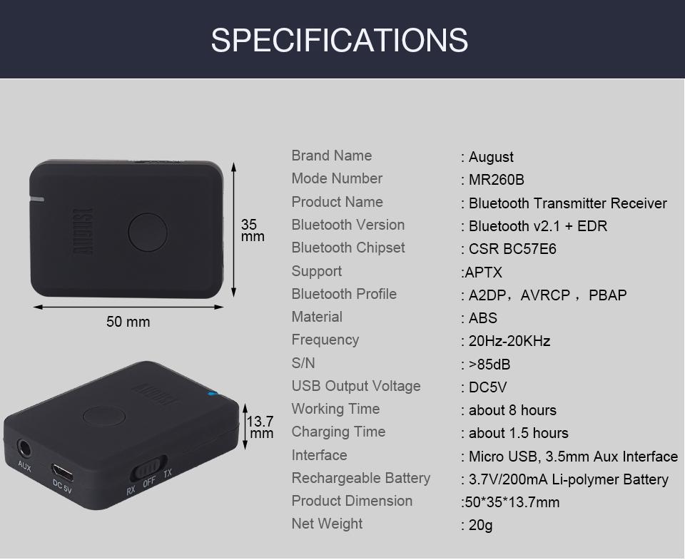 August MR260 Bluetooth Transmitter Receiver aptx low latency